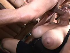 Chubby busty mature throats cock
