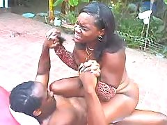 Chubby black girl fucks and gets facial outdoor