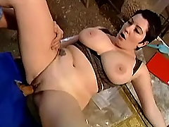 Busty chabby mom fucks in warehouse