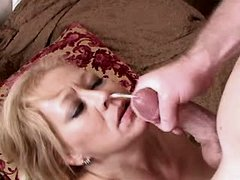 Mature has anal sex and gets facial