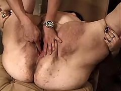 Lewd fat mature gets cumload on boobs after fuck