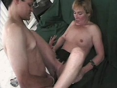 Mature has oral and fucks on sofa