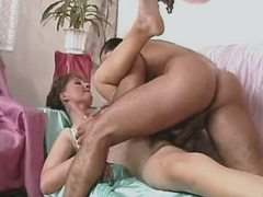 Mature sucks and gets cock in pussy