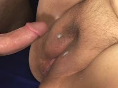 Huge woman gets cum on fat pussy