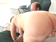 Chubby brunette milf gets creampie after hard fuck