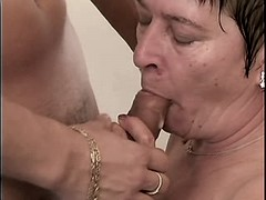 Chubby hot granny gets cum in mouth